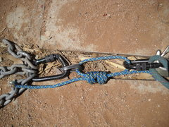 Rock Climbing Photo: Pull test of cord tied directly to hanger.