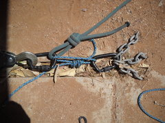 Rock Climbing Photo: Pull test of cord attached to carabiner.