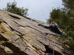 Rock Climbing Photo: Mark trying to not get heat stroke on Hypothermia.