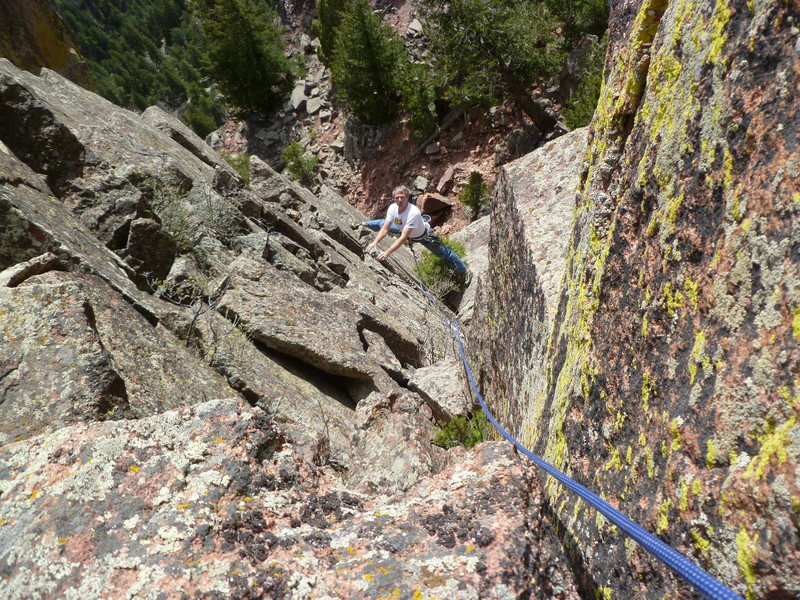 Rock Climbing Photo: Above the little tree on the easy upper section of...
