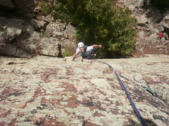 """Rock Climbing Photo: Shaking out on the """"death"""" block."""
