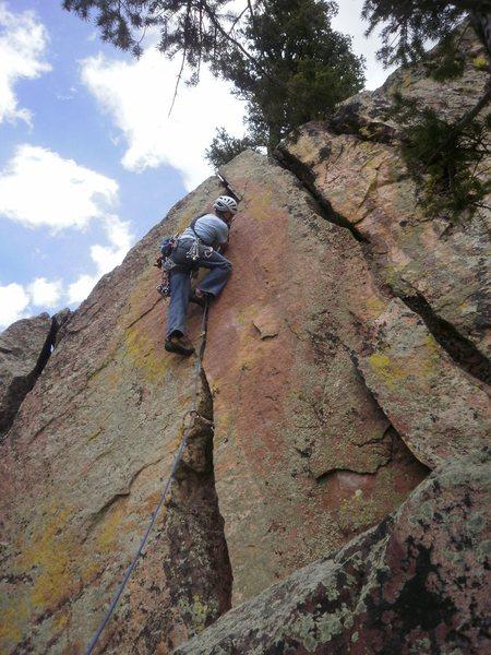 Rock Climbing Photo: Cruising up the short pitch 2.