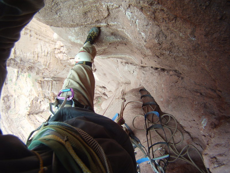 A typical Fishers belay. In a mud chimney.