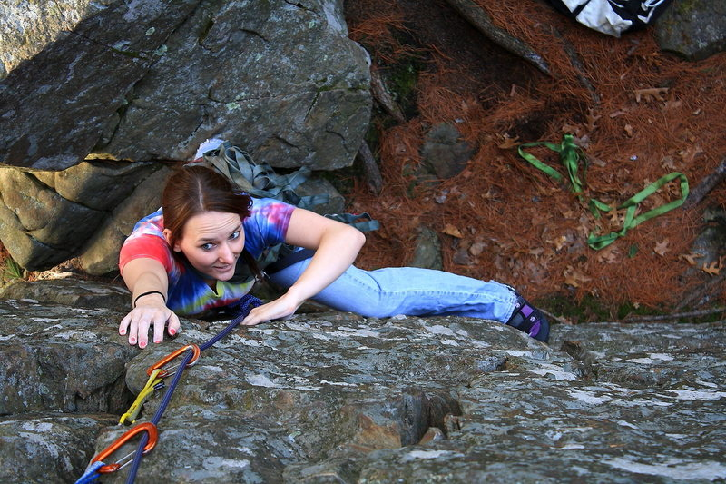 Rock Climbing Photo: Kaytie Nagle following Mr. Canoehead