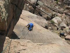 Rock Climbing Photo: Garrett following the slab crux on P1.  Not much t...