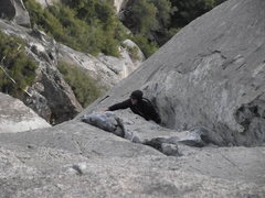 Rock Climbing Photo: Greg follows pitch 5 of the south face moro rock