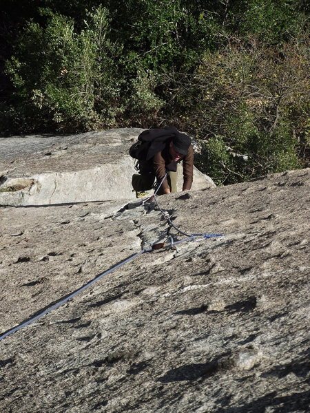 Rock Climbing Photo: greg follows the 1st pitch of south cracks. moro r...