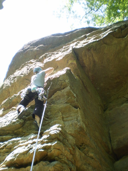 Rock Climbing Photo: Mary at the steep bulgy start of Indecision.