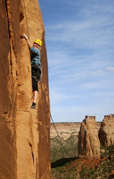 "Rock Climbing Photo: Kayla Watson styling the ""best 5.8 pitch in t..."
