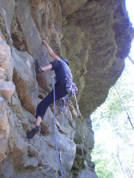 Rock Climbing Photo: Pulling through the juggy horizontals at the start...