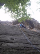 Rock Climbing Photo: Mary at the crux traverse.