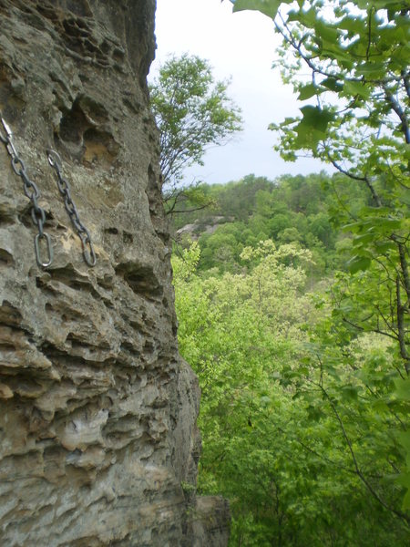 Looking over to the chain anchors from its neighbor climb Hatfield.