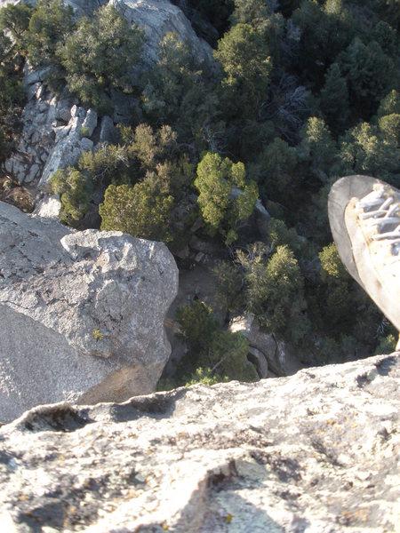 Rock Climbing Photo: Looking down the rap.