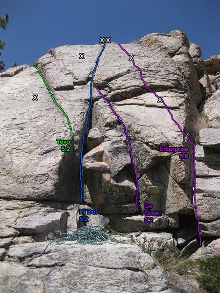 Route topo for the right side of Tanglewood Slab.