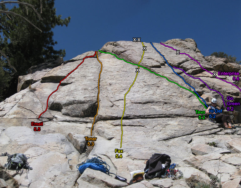 Rock Climbing Photo: Tanglewood slab route topo.