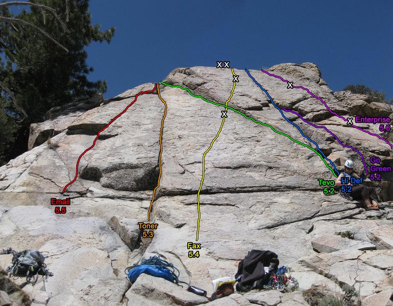 Rock Climbing Photo: Tanglewood Slab route topo.