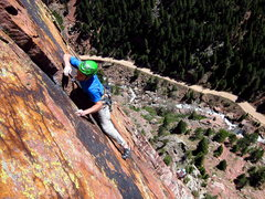 Rock Climbing Photo: Blake Herrington leading the last pitch of Super S...