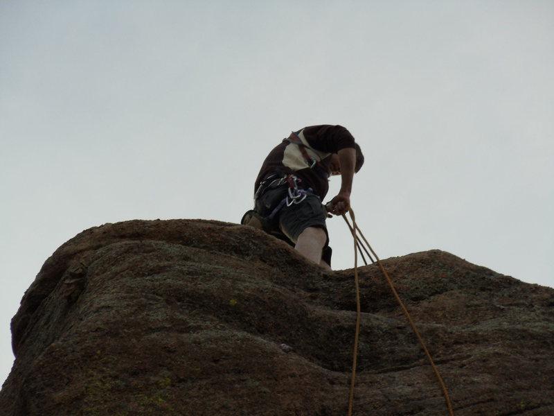 Rock Climbing Photo: Rapping off the Banana Tower.