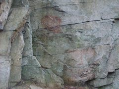 Rock Climbing Photo: A close up shot of some of the scrubbed Graffiti.