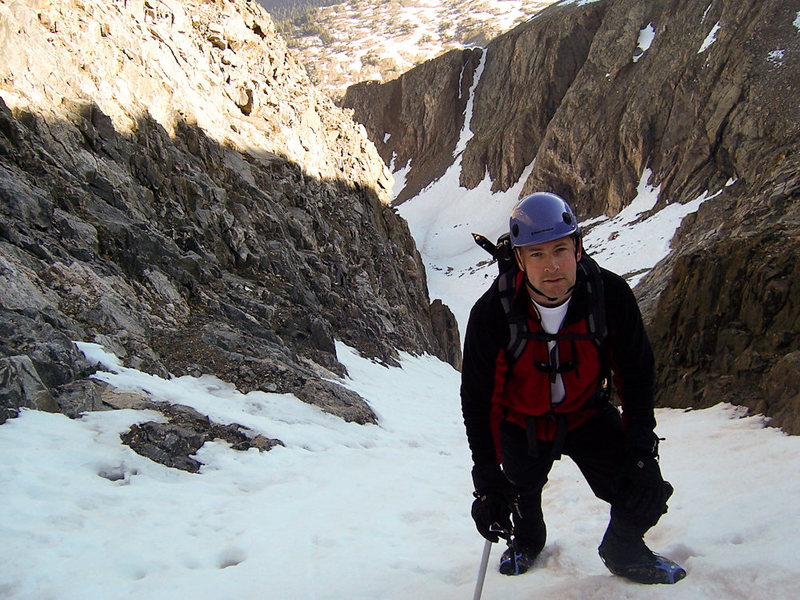 Pete Castricone on the Refigerator Couloir of Ice Mountain, Colorado.