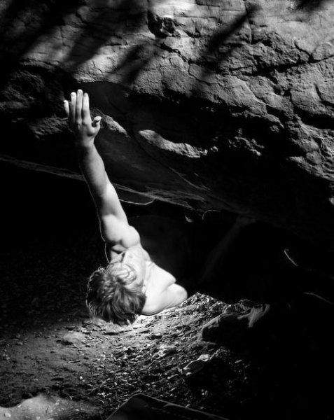 Rock Climbing Photo: Max Krimmer on Mr. Witty (V7) Brickyard, Santa Bar...