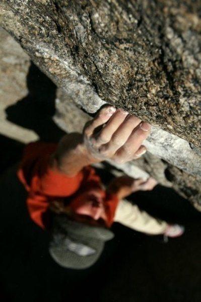 Max Krimmer on The Ladder (V0)<br> Area A, Mt. Evans<br> <br> Photo: Hayden Miller