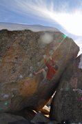 Rock Climbing Photo: Max Krimmer on Flyboy Sit (V8) Buttermilks, Bishop...