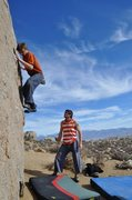 Rock Climbing Photo: Warming up on the Sunshine Wall Buttemilks, Bishop...