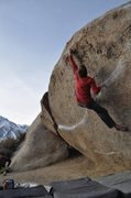 Rock Climbing Photo: Max Krimmer on Iron Fly (V9) Buttermilks, Bishop  ...