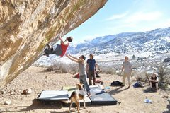 Rock Climbing Photo: Max Krimmer on Evilution (V10) Buttermilks, Bishop...