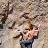 Max Krimmer on Zen Flute (V10)<br> Dale's Camp, Bishop<br> <br> Photo: Eli Michaels