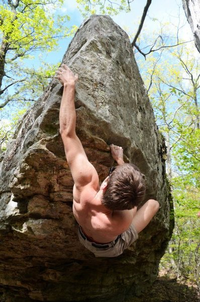 Rock Climbing Photo: Andrew Cassidy reaching with the left hand for the...