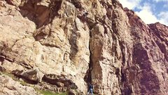 Rock Climbing Photo: First ascent photo,... putting down the hammer on ...