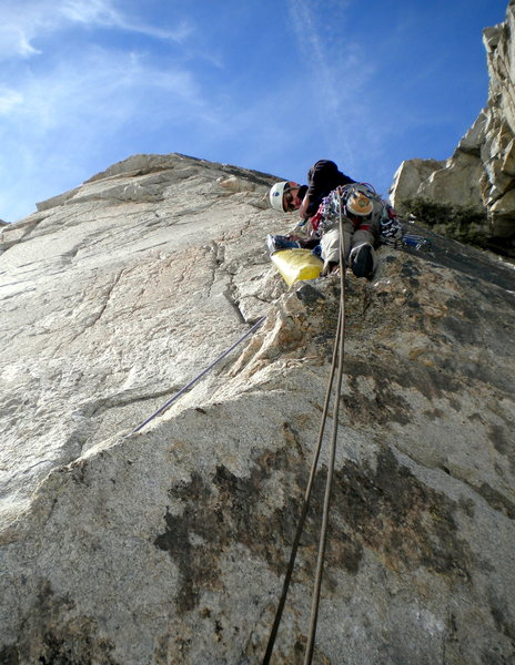 First time up the last pitch of Three Hour Arete.