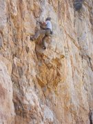 Rock Climbing Photo: Jim Scott just after crossing Crescendo.