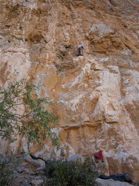 The Start of Crosstafarian.  Jimbo at the ledge where you clip the one bolt that is on Crescendo.  A couple of moves up then a move right get you to the next bolt on Crosstafarian.