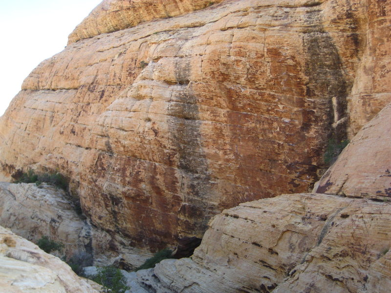 Rock Climbing Photo: Route goes up Right Black Streak, One with the big...