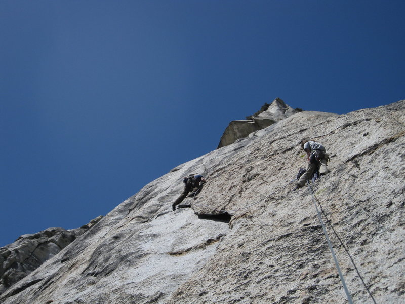 Rock Climbing Photo: Adam Winters on the left variation of pitch 4, Jer...