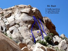 Rock Climbing Photo: Photo/topo for RC Rock, Joshua Tree NP