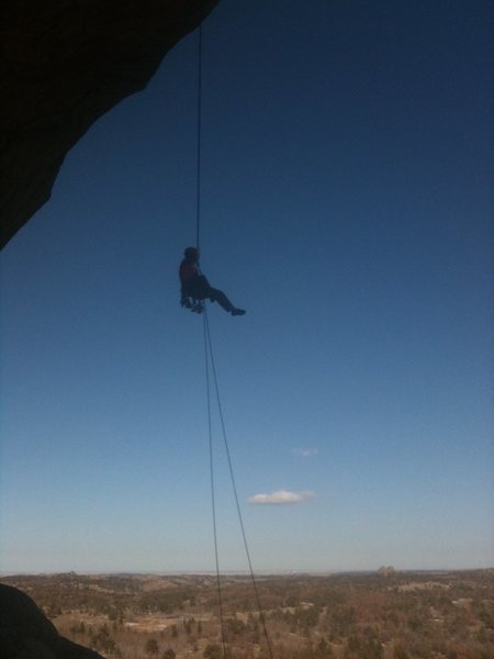 Chillin' on the rappel.