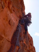 Rock Climbing Photo: Wyatt engaged with the 4th pitch (It's just a tad ...