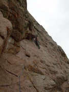 Rock Climbing Photo: Turning the corner on the 2nd pitch undercling tav...