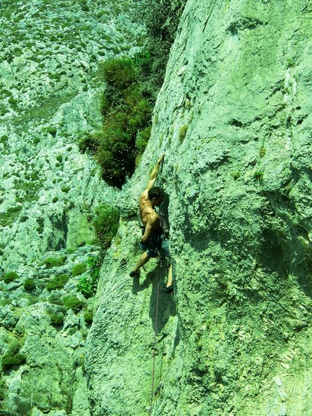 Rock Climbing Photo: On balcony, in near vertical terrain on small, pos...