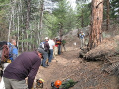 Rock Climbing Photo: Volunteers learn trail building techniques.