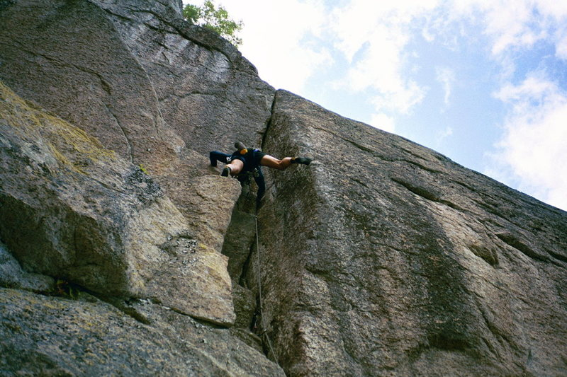 Rock Climbing Photo: Tim on the low crux P4