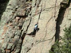 Rock Climbing Photo: Climbing Beat Around the Bush, Sandia Mountains, A...
