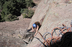 Rock Climbing Photo: Following the second pitch on Excitable Boys, 5.9+...