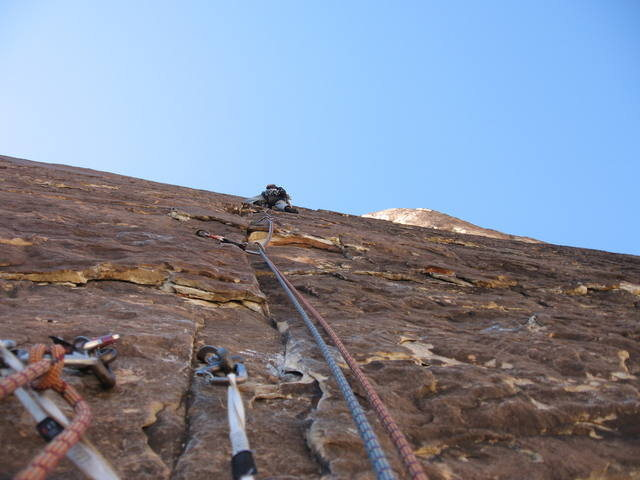 Rock Climbing Photo: Leading pitch ? on Prince of Darkness, 10c, Red Ro...