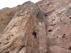 Rock Climbing Photo: Karen taking a lap on the super fun crack.