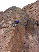 Rock Climbing Photo: Dan near the top of the wonderful arete.
